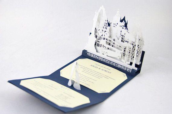 Personalizada azul e invitación de la boda de blanco por Bielyse                                                                                                                                                                                 Más