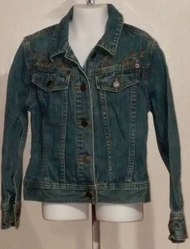 Girls Gap for Kids Denim Jean Jacket Western Horse shoes floral Size 8 #GapKids #JeanJacket #denimjacket #jacket #girls #forsale #gap #kids #western