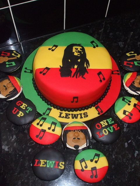 Bob Marley Cake & Cupcakes jamaica-reggae themed bday party