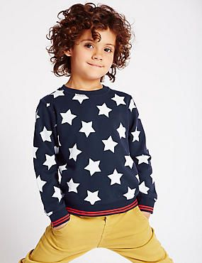 Pure Cotton Star Print Sweatshirt (1-7 Years)