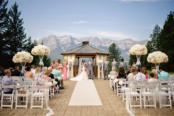 Silver Tip Resort in Canmore, perfect for a ceremony in the mountains.  Complete with cute wood gazebo.