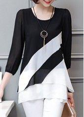 Three Quarter Sleeve Printed Black Blouse | Rosewe.com - USD $29.12