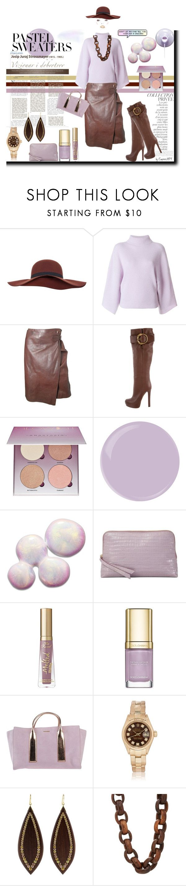 """""""Pastel Sweaters"""" by emperormpf ❤ liked on Polyvore featuring Miss Selfridge, Petar Petrov, Hermès, By Terry, Gucci, Anastasia Beverly Hills, Arcona, Aspinal of London, Too Faced Cosmetics and Dolce&Gabbana"""