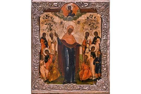 """Ikone, Russland 18. Jh. """"Mariä mit Heiligen"""", 29,5x23 cm, Silberoklad, 570/144/38"""