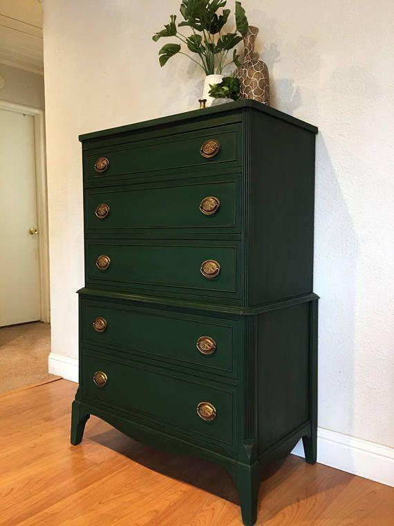Sold Emerald Green Tall Dresser Vintage Antique Solid