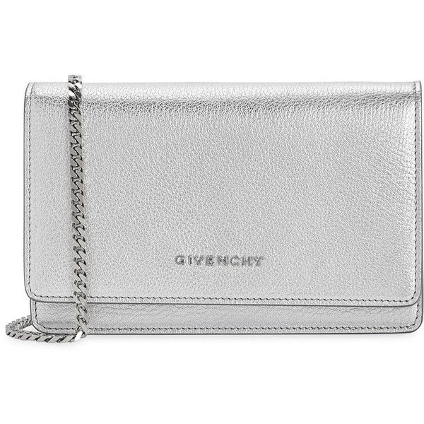 Givenchy Pandora Silver Leather Cross-body Bag (3,495 PEN) ❤ liked on Polyvore featuring bags, handbags, shoulder bags, chain shoulder bag, genuine leather shoulder bag, silver crossbody purse, crossbody handbag and silver crossbody