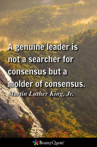 A genuine leader is not a searcher for consensus but a molder of consensus. - Martin Luther King, Jr.