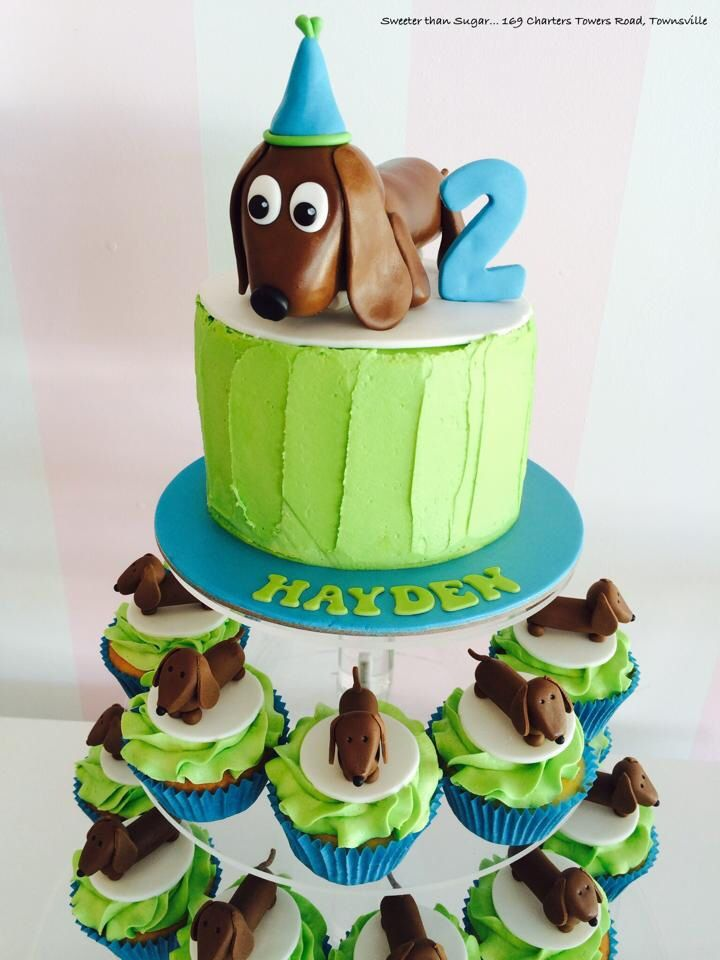 LOVE this adorable dachshund cake & cupcakes by Sweeter Than Sugar! So cute!