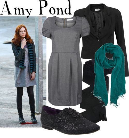 Amy Pond  business casual    ONLY pocket dress, €40Soaked in Luxury cropped blazer, €35Black tight, €35Nine West flat, $41Ann Harvey crinkle scarve, £15