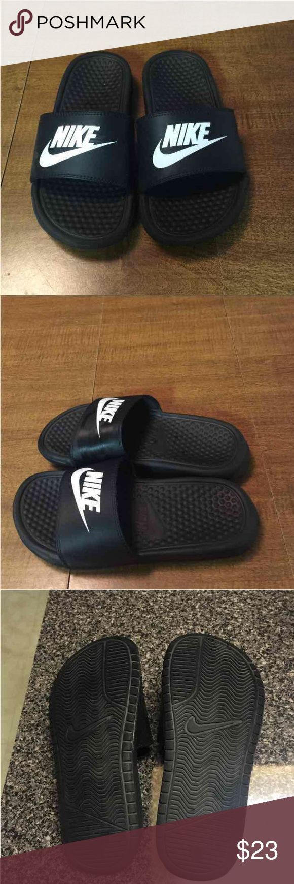 Nike slides EUC only selling cause it's a little small on me. In a kids 3 or women's 5 Nike Shoes Slippers