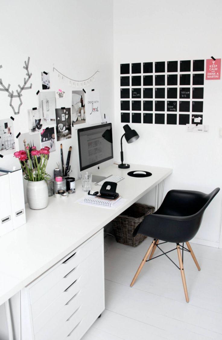 Home office inspiration black white office