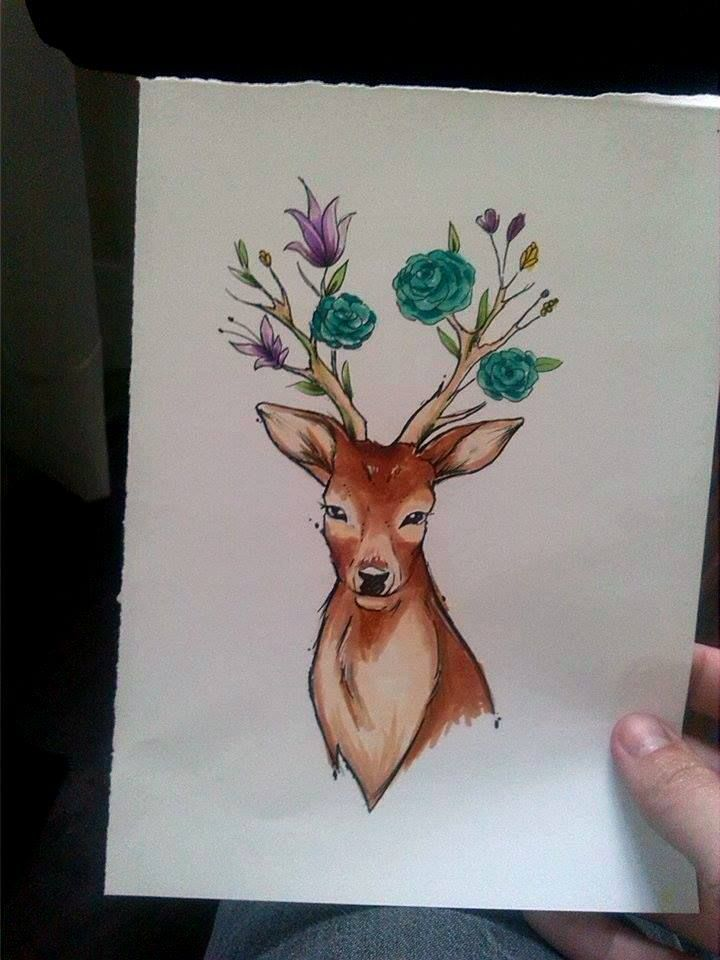Ciervito flores #deer #flower #animal #copic