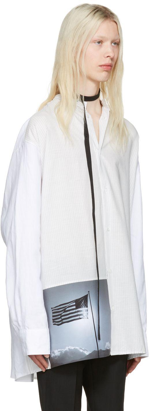 Raf Simons: White Robert Mapplethorpe Edition Oversized Neck Strap American Flag Shirt | SSENSE