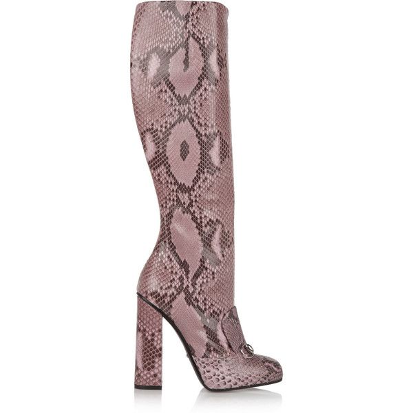 Gucci Horsebit-detailed python knee boots, Size: 38 (9.370 HRK) ❤ liked on Polyvore featuring shoes, boots, gucci, обувь, rose boots, gucci boots, mod boots, chocolate brown boots and knee high boots