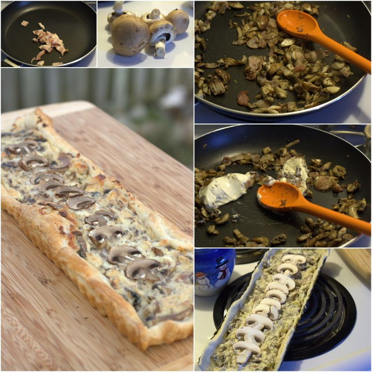 Creamy Mushroom Tart: puff pastry, bacon, onion, garlic, mushrooms ...