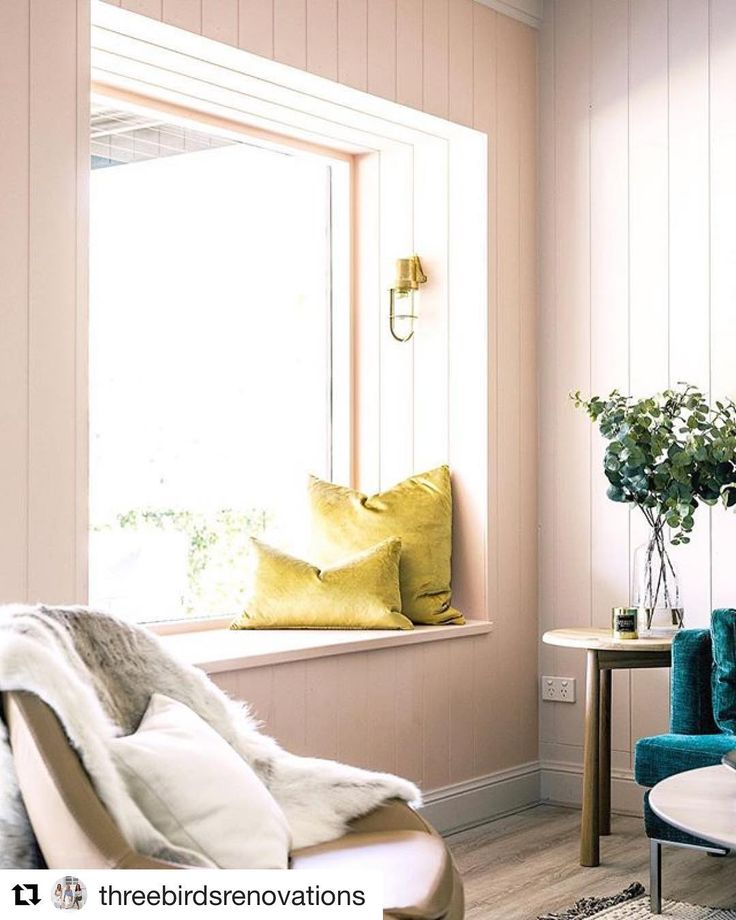 "Window seat & wall panelling inspiration loving the combination of colours too. #inspire #Repost @threebirdsrenovations (@get_repost)  Picture window colour ""Pinkham"" @duluxaus 