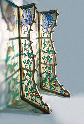 PAIR OF LEADED-GLASS WINDOWS  CIRCA 1900