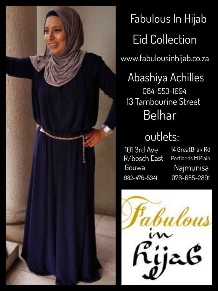 Fabulous In Hijab Navy gathered bodice dress @ R550  084-553-1694 www.fabulousinhijab.co.za