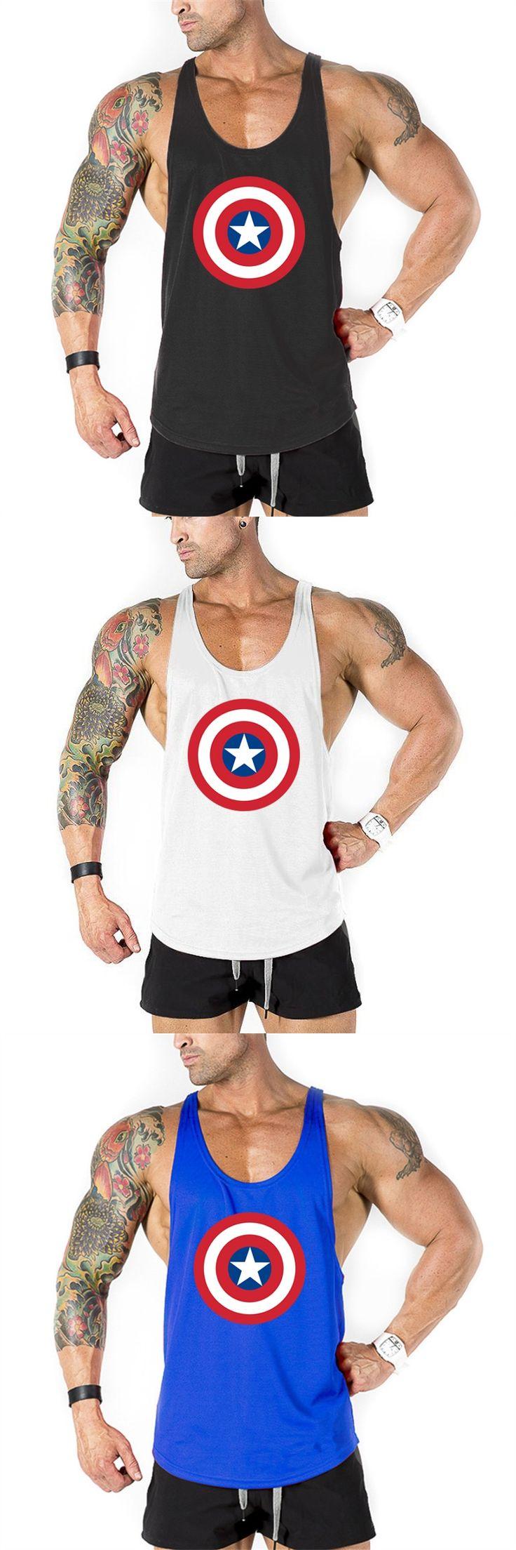 Brand Bodybuilding Clothing Captain America Gyms Stringer Tank Top Men Fitness Men Golds Vest Singlets sportswear Undershirt