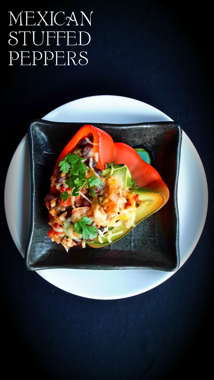 Vegetarian stuffed peppers with Mexican flavours. An easy and tasty weeknight dinner.