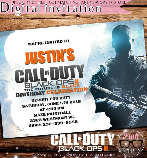 Call Of Duty Black Ops Birthday Invitations Image collections