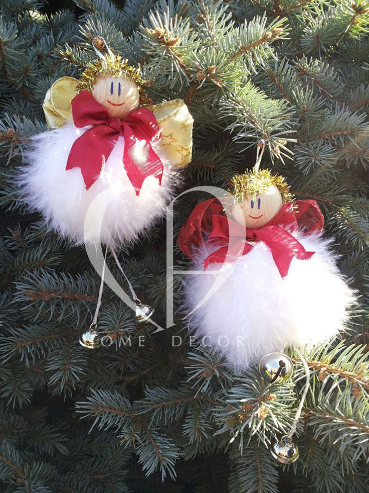 Angels made of foam with rattles, ribbons organza and satin double gold and red