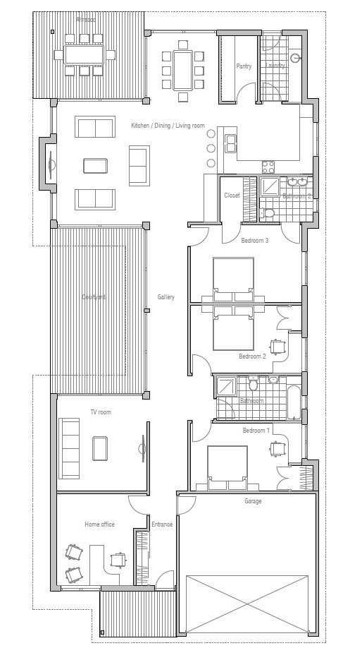 Modern house to deep and narrow lot australian influences Narrow modern house plans