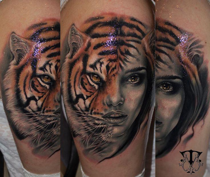 Tiger-women face tattoo