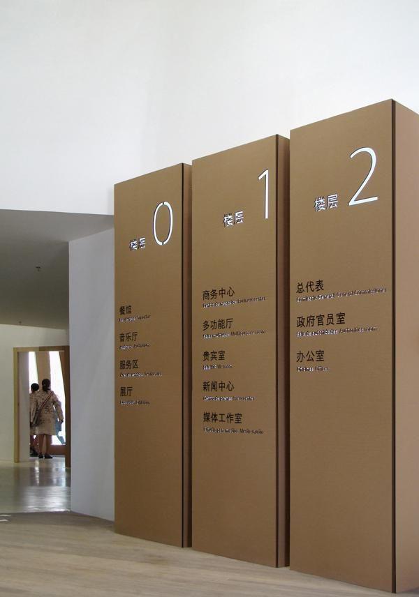 Señalización del Pabellón de España en la Expo de Shangahai, 2010.