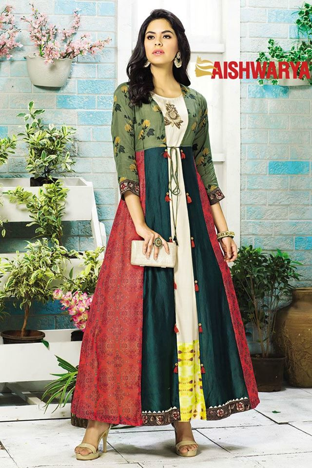 Sizzle with style in this tasteful multicolor designer kurti. Buy Kurti online - http://www.aishwaryadesignstudio.com/enticing-multicolor-partywear-long-kurti