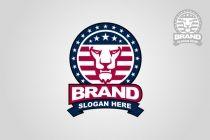American Flag Lion Logo
