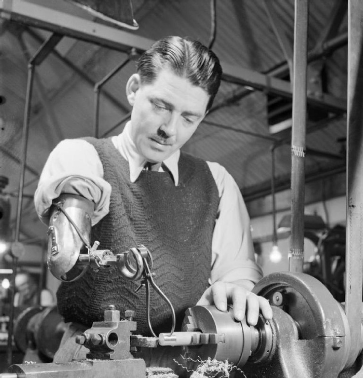 DISABLED SOLDIER'S WAR JOB: PRODUCING ARTIFICIAL LIMBS, UK, c 1944