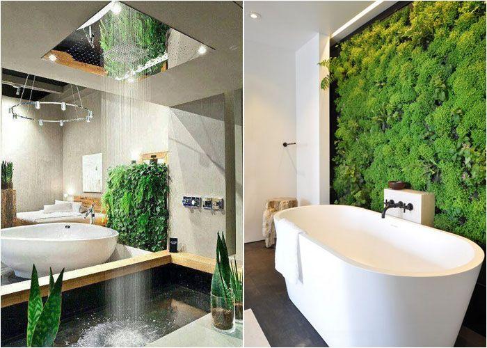 Возможно, многих пугает тема живых растений в декоре, но можно успокоиться. Прекрасно в ванной комнате будут смотреться каскадные лианы. Если вы не хотите просто поставить цветы в горшках, то можно применить вертикальное размещение растений, так называемый вертикальный сад. Зелень придаст комнате свежести, к тому же это экологично.