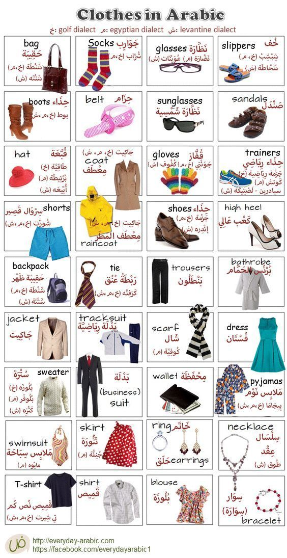 Clothes in everyday Arabic language, Gulf, Saudi dialect, Egyptian dialect and Levantine shami, Lebanon dialect with translation: #learnarabiclanguage