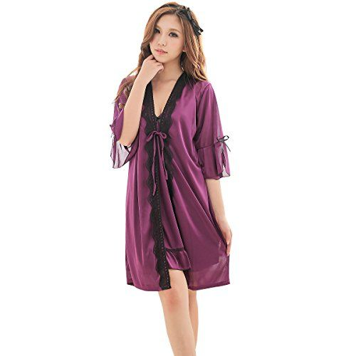 JXS Womens Noble Purple Silk Skirt Robe Set Babydoll Nightwear 2036 * You can get more details by clicking on the image.