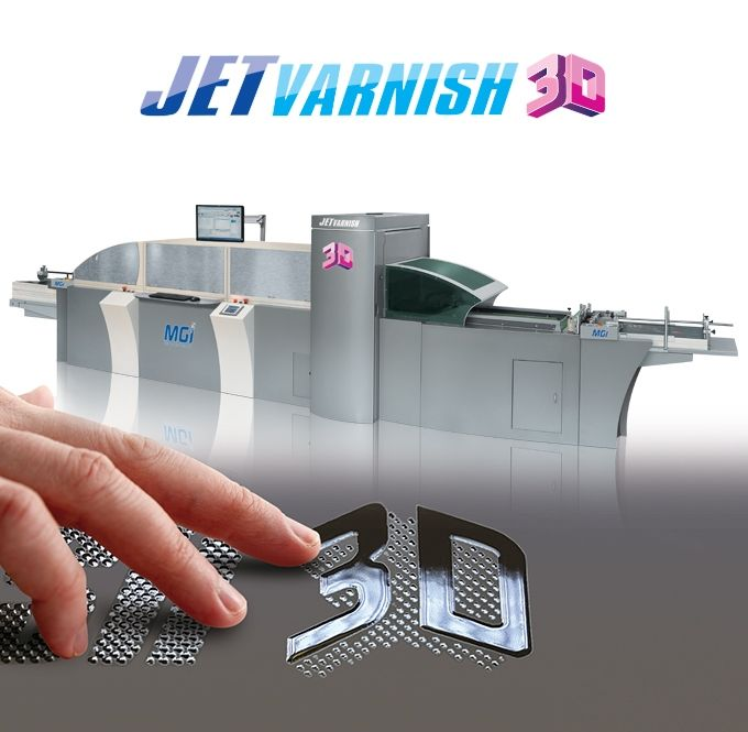 MGI JETvarnish 3D takes digital spot UV coating to a new dimension. Featuring increased throughput for flat spot UV jobs and amazing 3D raised effects. Ideal for operations with offset and/or digital presses up to 52 x 105 cm format. The JETvarnish 3D is the perfect solution for 3D or traditional flat spot UV coating.