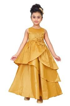 a2dd07fd8b Yellow plain polyester kids gowns kids-girl-gown | Gowns For Kids in ...