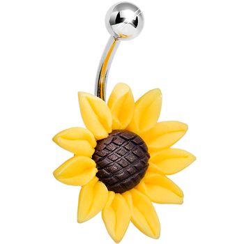 Stunning Sunflower Belly Ring #piercing #bodycandy #bellyring $5.99