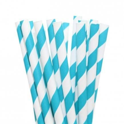 25 Stripey Blue Paper Straws - Included in the standard $115 and deluxe $175 packs www.strawberry-fizz.com.au
