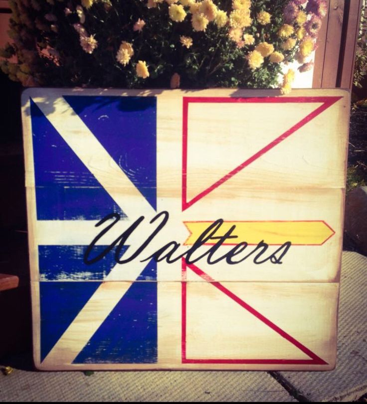 A personal favorite from my Etsy shop https://www.etsy.com/ca/listing/261190470/newfoundland-flag-surname-wooden-sign