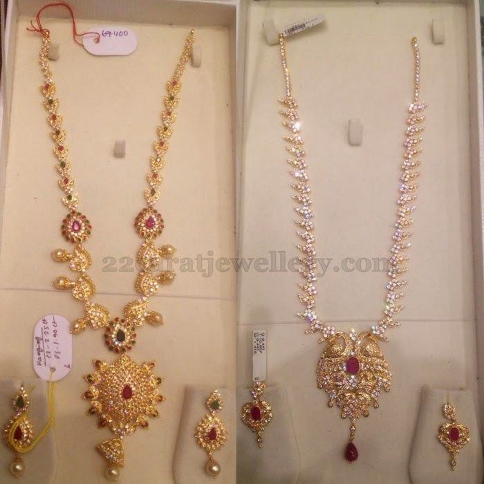 Jewellery Designs: 70Gms Weight of CZ Long Chains