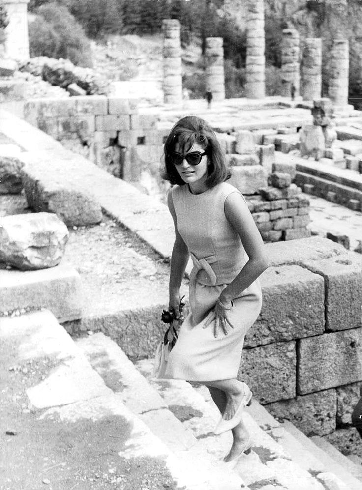 October 12, 1963: Jackie in Delphi, Greece, during Jackie's two-week recuperative vacation in Greece.