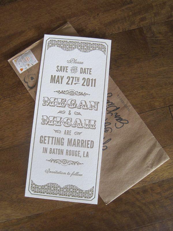 Megan + Micah's Metallic Art Deco Letterpress Wedding Invitations