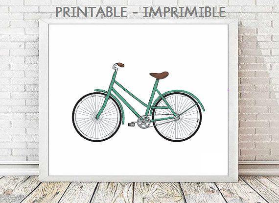 Ilustracion bici,lamina bicicleta,bici verde, 5 TAMAÑOS INCLUIDOS,cuadros bicicletas,bicicletas vintage,laminas imprimibles