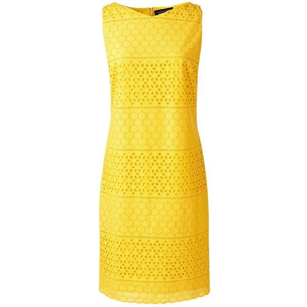 Lands' End Women's Petite Sleeveless Eyelet Shift Dress ($99) ❤ liked on Polyvore featuring dresses, yellow, yellow summer dress, summer dresses, petite dresses, sleeveless shift dress and striped dress
