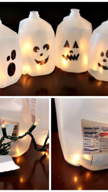Halloween Milk Jug Ghosts ~ easy and super fun!