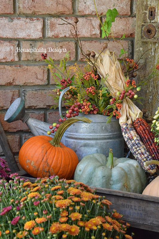 Fall Mums and Pumpkins - Housepitality Designs