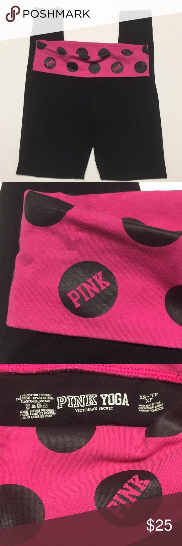 "Victoria's Secret PINK yoga pants Victoria's Secret PINK yoga pants Black and pink. Black polka dots. Sz XS/TP XP  Measurements  Waist 14"" circumference 28"" Rise 8"" Inseam 29"" Leg opening 4"" Stretch  Item loc 03 red 05022018 PINK by Victoria's Secret Pants Track Pants & Joggers"