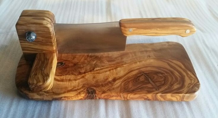 Olive wood biltong cutter with olive wood knife handle unique.