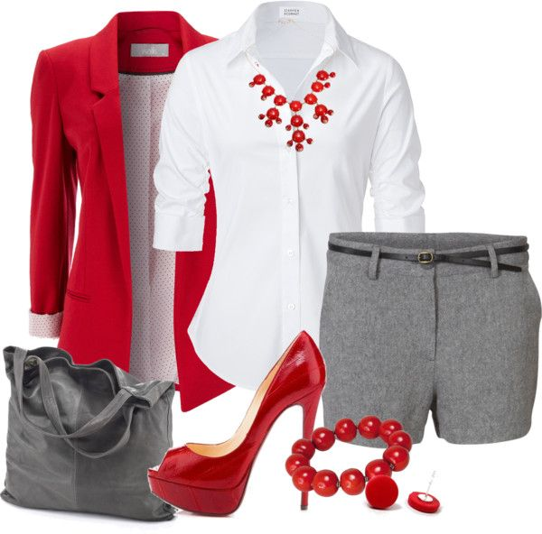 gray shorts, black skinny belt, white button down shirt, red blazer, red patent peep toe pumps, gray tote, red bauble necklace/bracelet